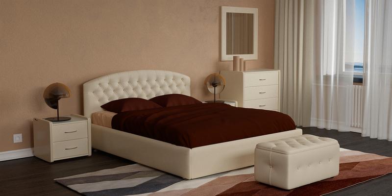 Мягкая кровать 200х160 Малибу вариант №1 с ортопедическим основанием (Бежевый)