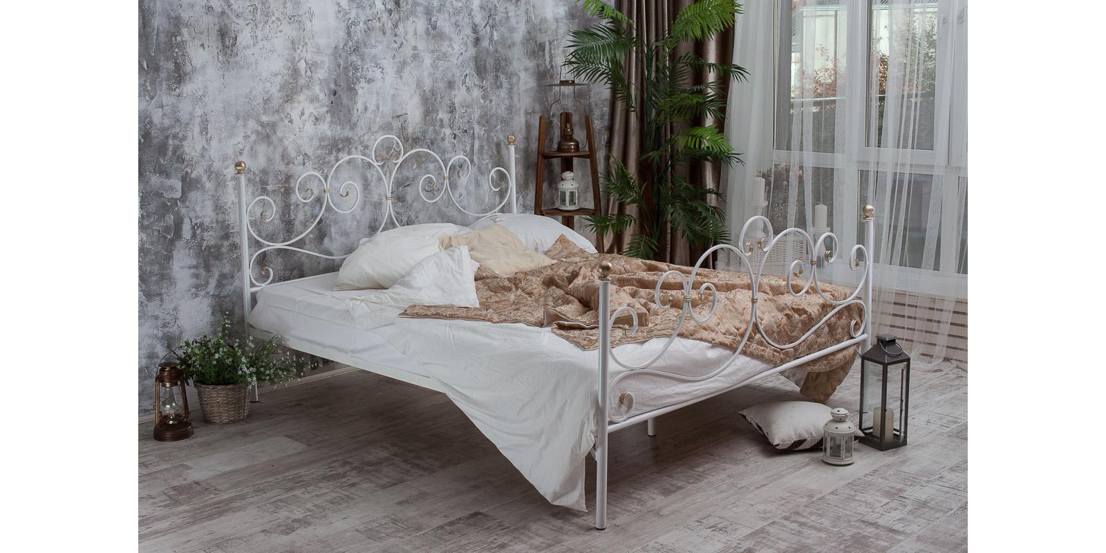 Металлическая кровать 160х200 Флоренция с ортопедическим основанием (белый с золотом) S014/2-6 Флоренция