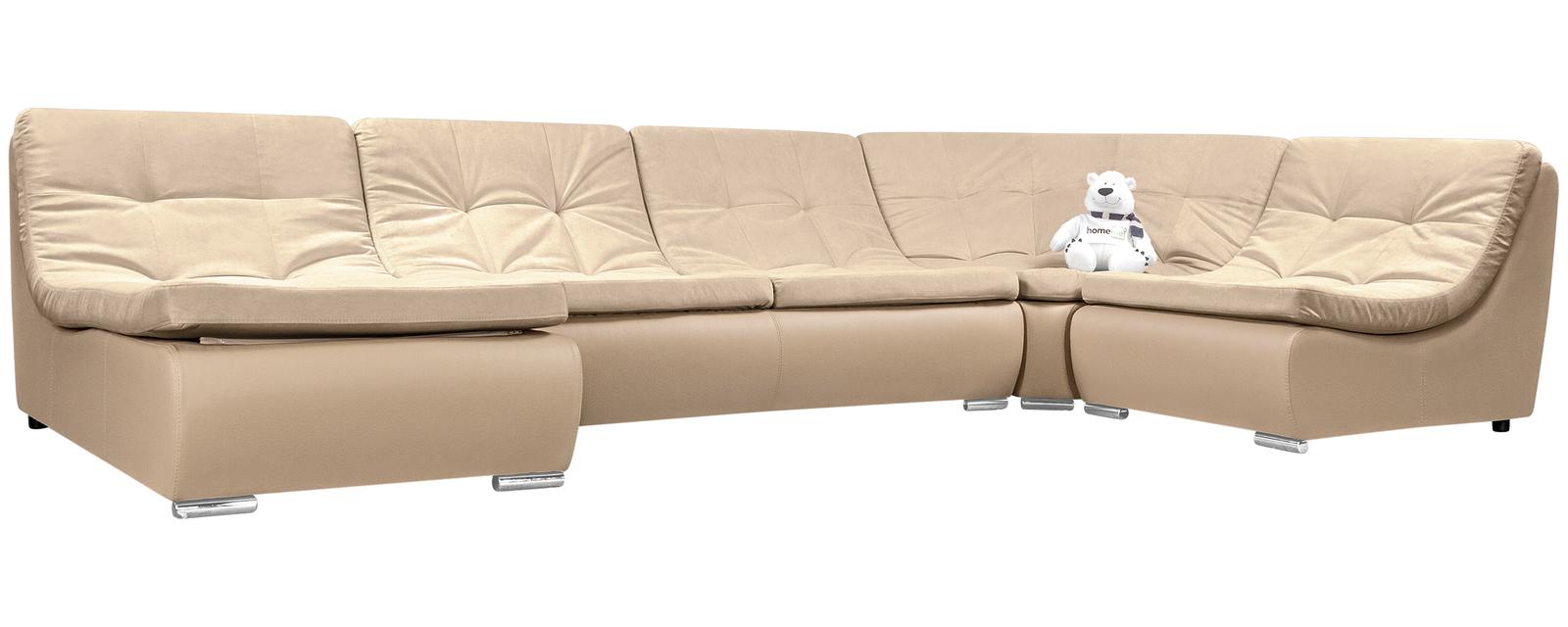 Модульный диван Лос-Анджелес Velure бежевый Вариант 2 (Велюр + Экокожа)