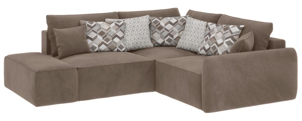 Модульный диван Портленд вариант №1 Soft темно-бежевый (Вел-флок, правый)