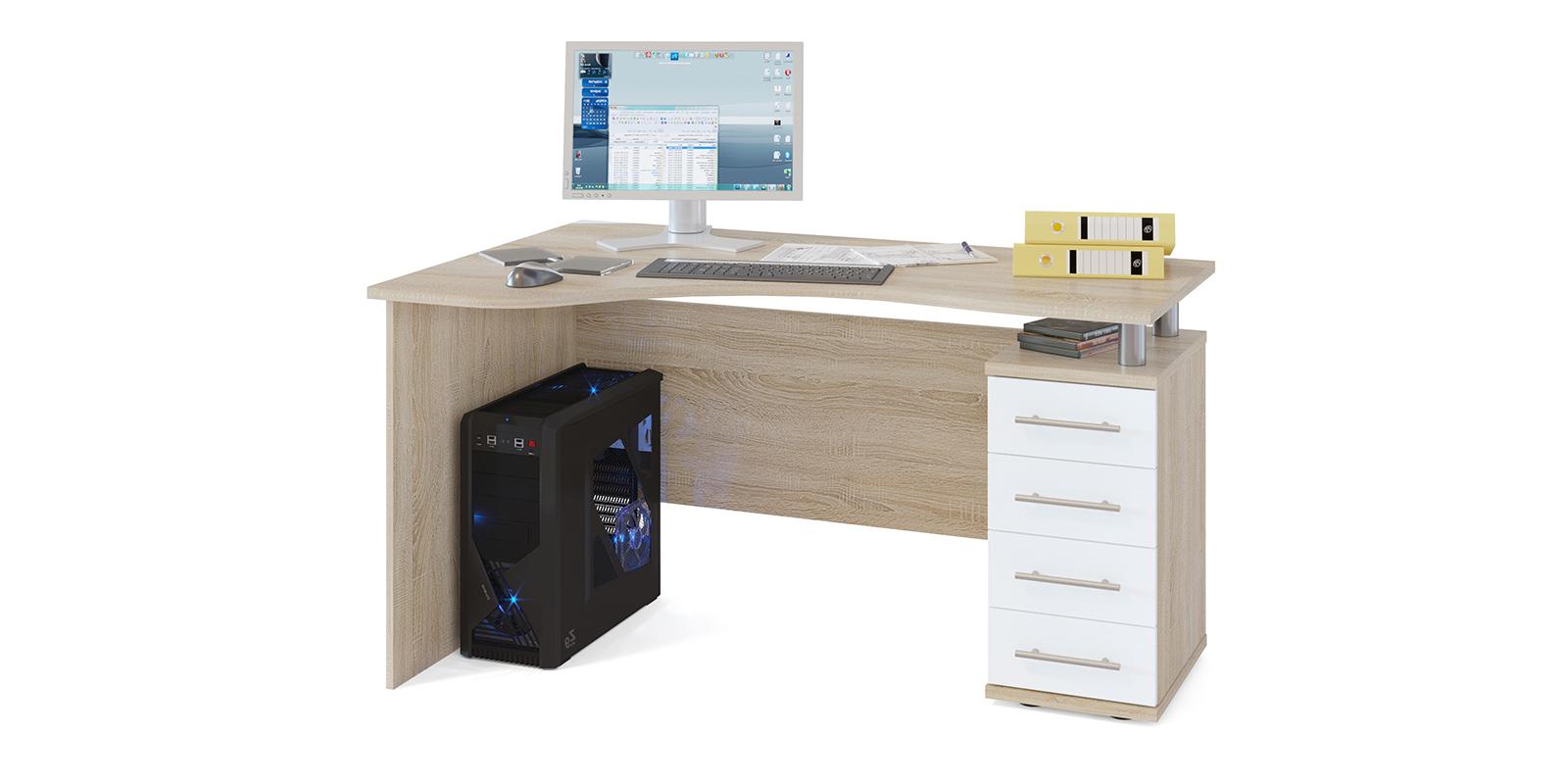 Стол компьютерный Мерида правый угол вариант №1 (дуб сонома/белый)