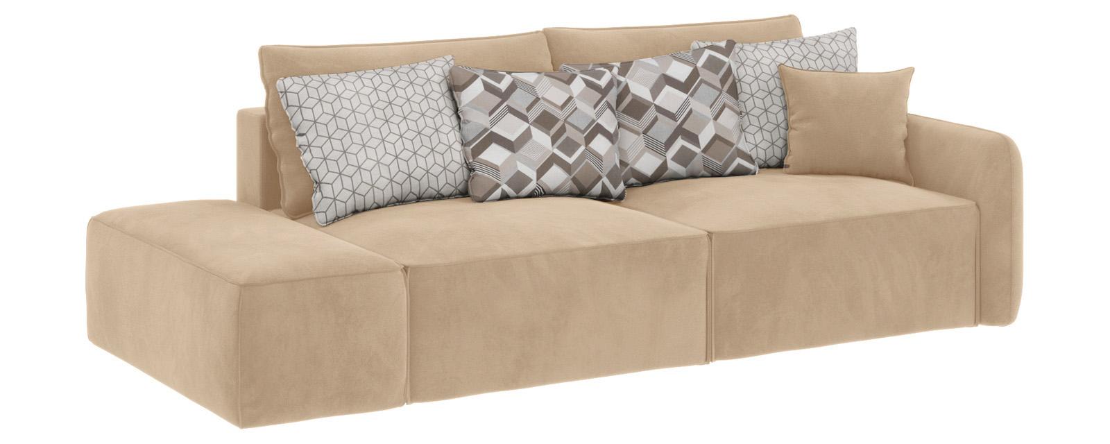 Модульный диван Портленд вариант №2 Soft песочный (Вел-флок, правый)