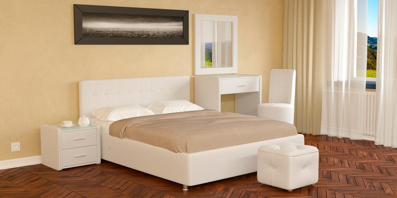 Мягкая кровать 200х160 Малибу вариант №5 с ортопедическим основанием (Белый)