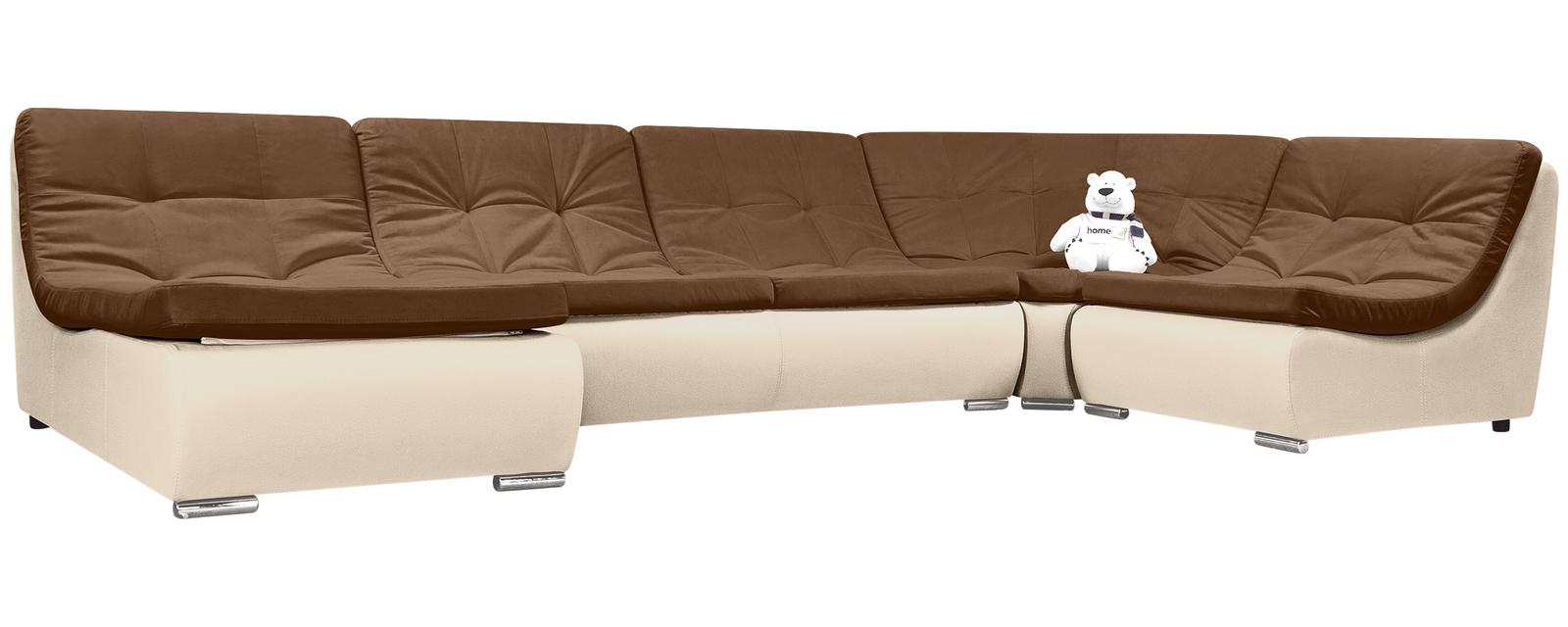 Купить Модульный диван Лос-Анджелес Velure коричневый Вариант 2 (Велюр + Экокожа), HomeMe, Бежевый