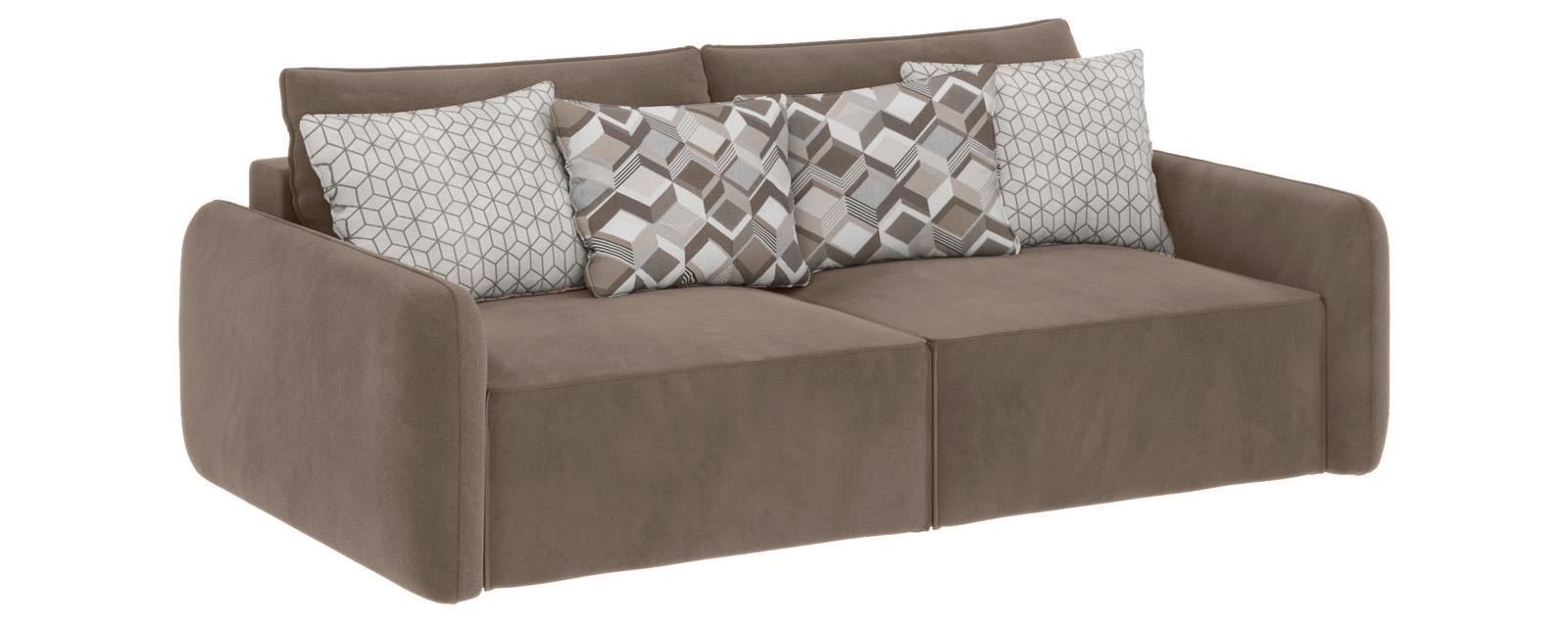 Модульный диван Портленд вариант №7 Soft темно-бежевый (Вел-флок)