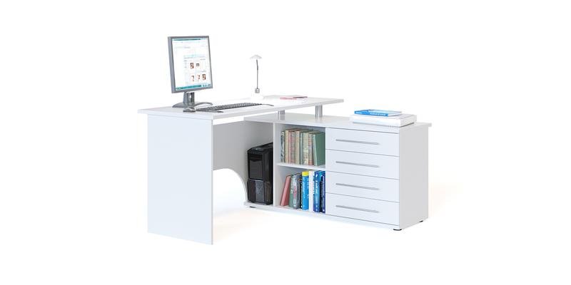 Стол компьютерный Сноу правый угол (белый)
