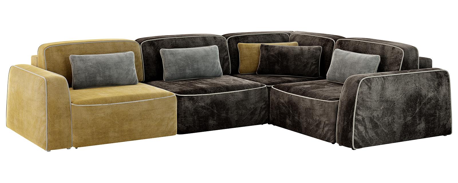 Модульный диван Портленд 350 см Velure оливковый/тёмно-коричневый (Велюр)