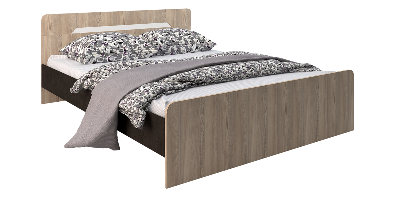 Кровать каркасная 200х160 Глория без подъемного механизма (Венге/Ясень)