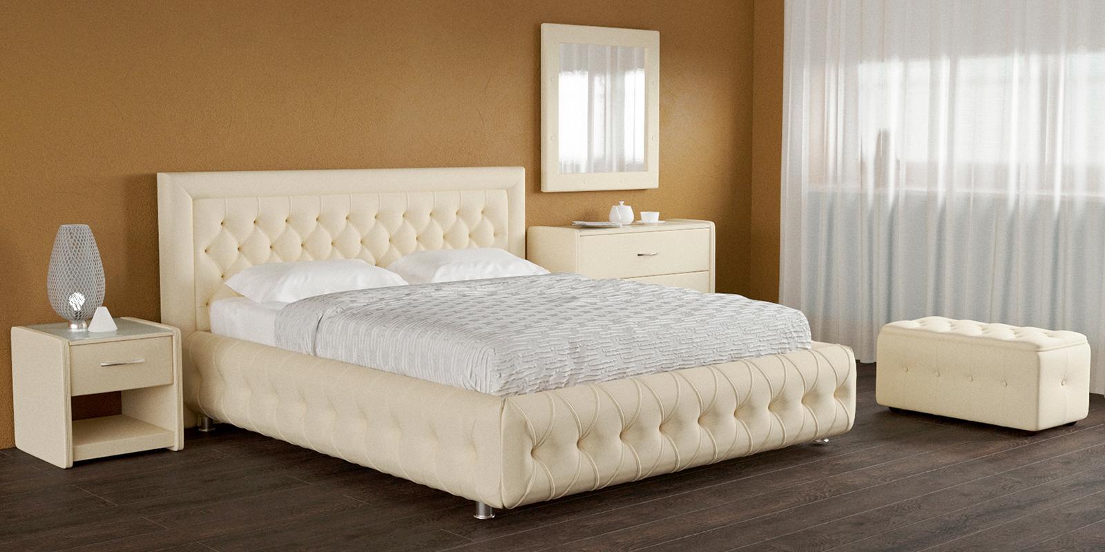Купить Мягкая кровать 200х160 Малибу вариант №7 с ортопедическим основанием (Бежевый), HomeMe