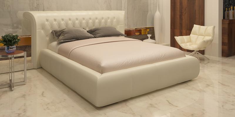Мягкая кровать 200х160 Вирджиния с подъемным механизмом (Молочный)