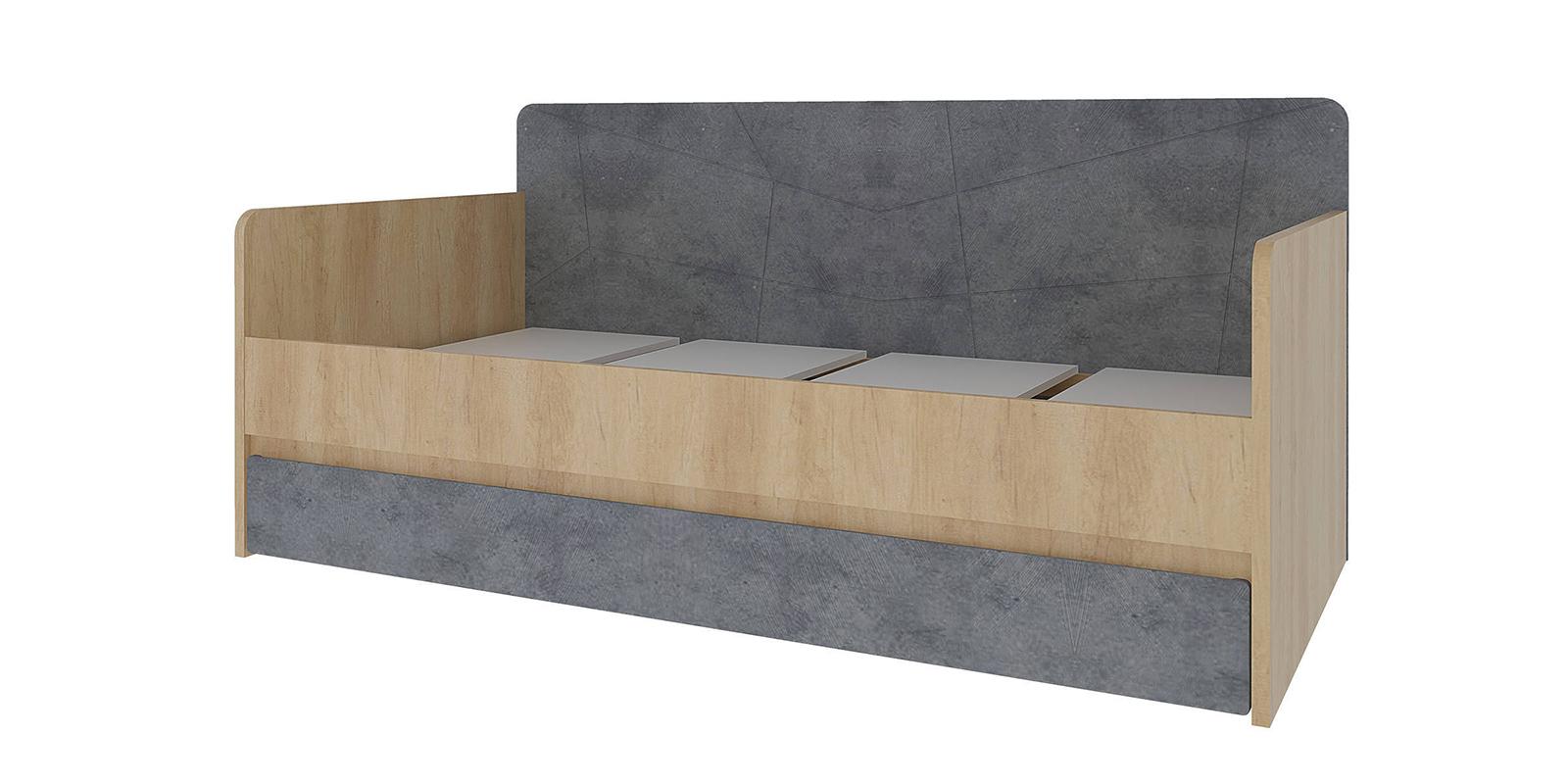 Кровать каркасная 200х90 Монца без подъемного механизма (дуб небраска/бетон тёмный)
