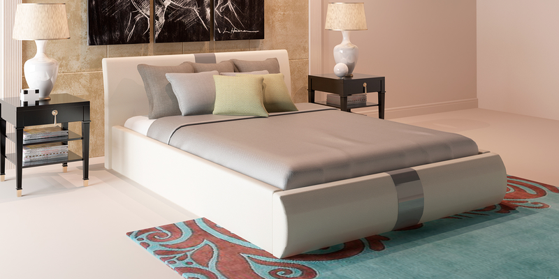 Мягкая кровать 200х160 Флора с подъемным механизмом (Luxe молочный)
