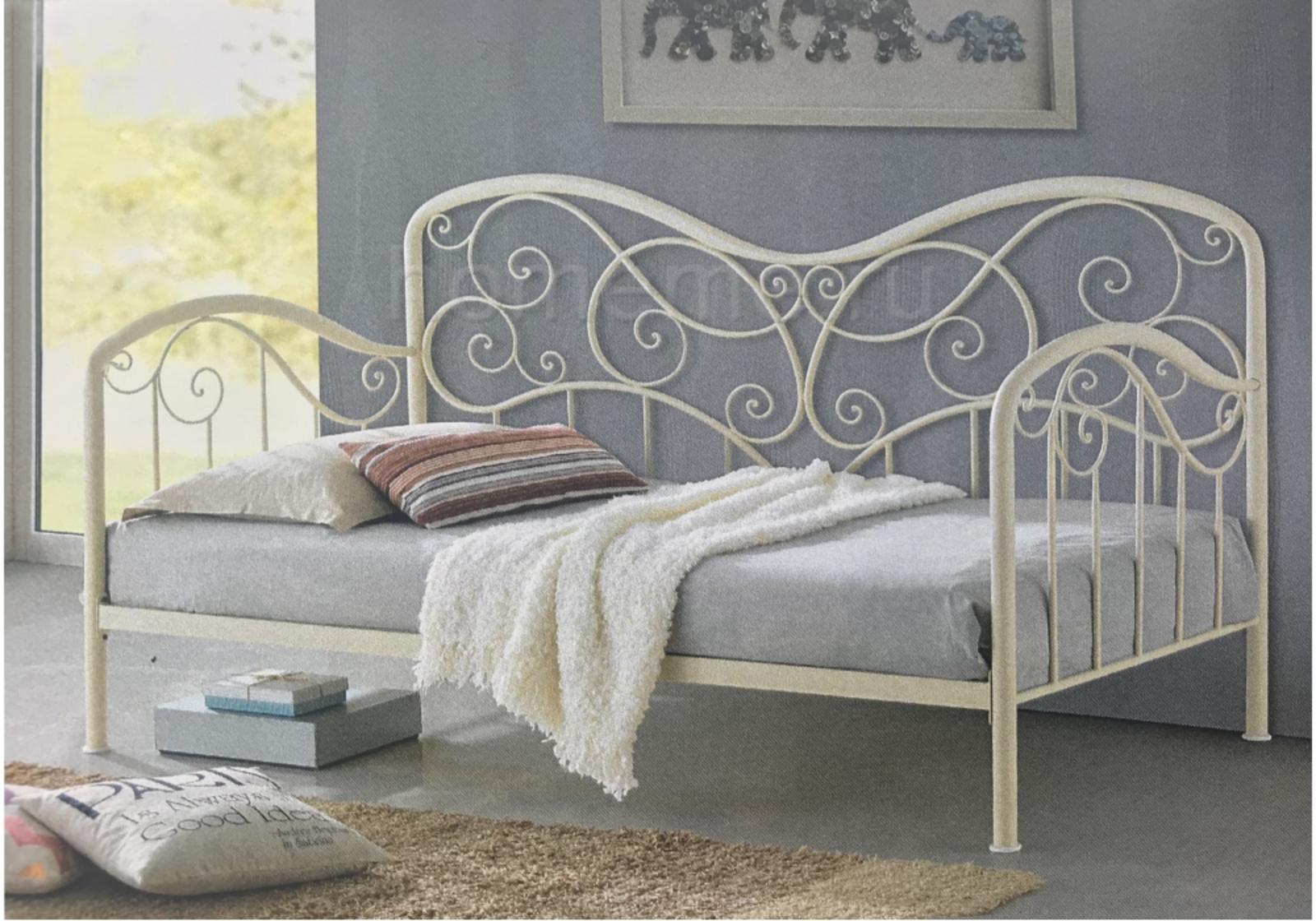 Кровать Inga с деревянными ламелями 200х90, слоновая кость (1830) HomeMe