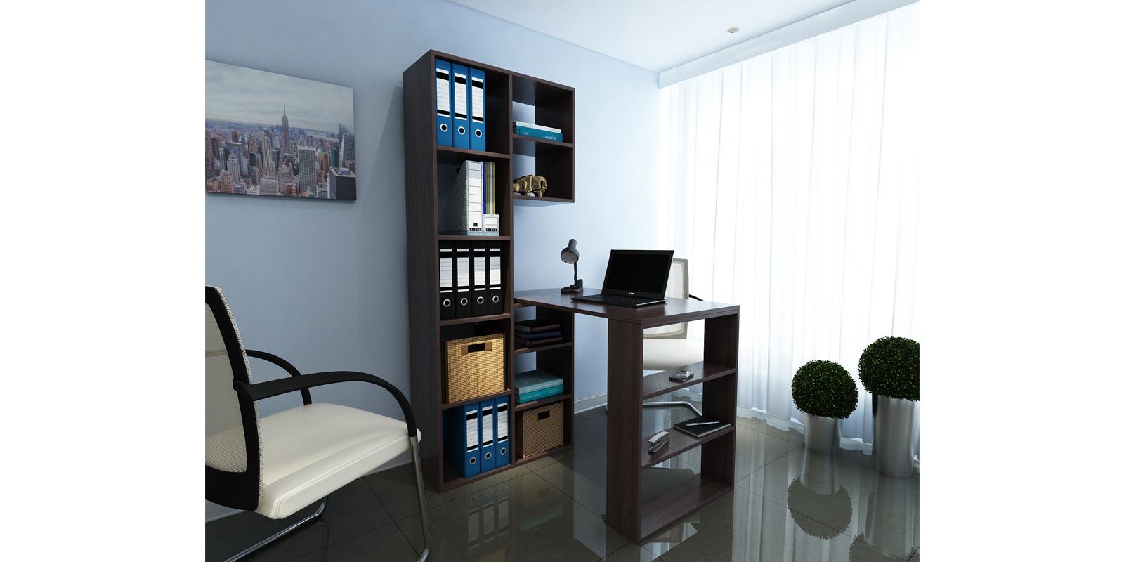 Модульный стеллаж Канкун со столом вариант №2 (венге)