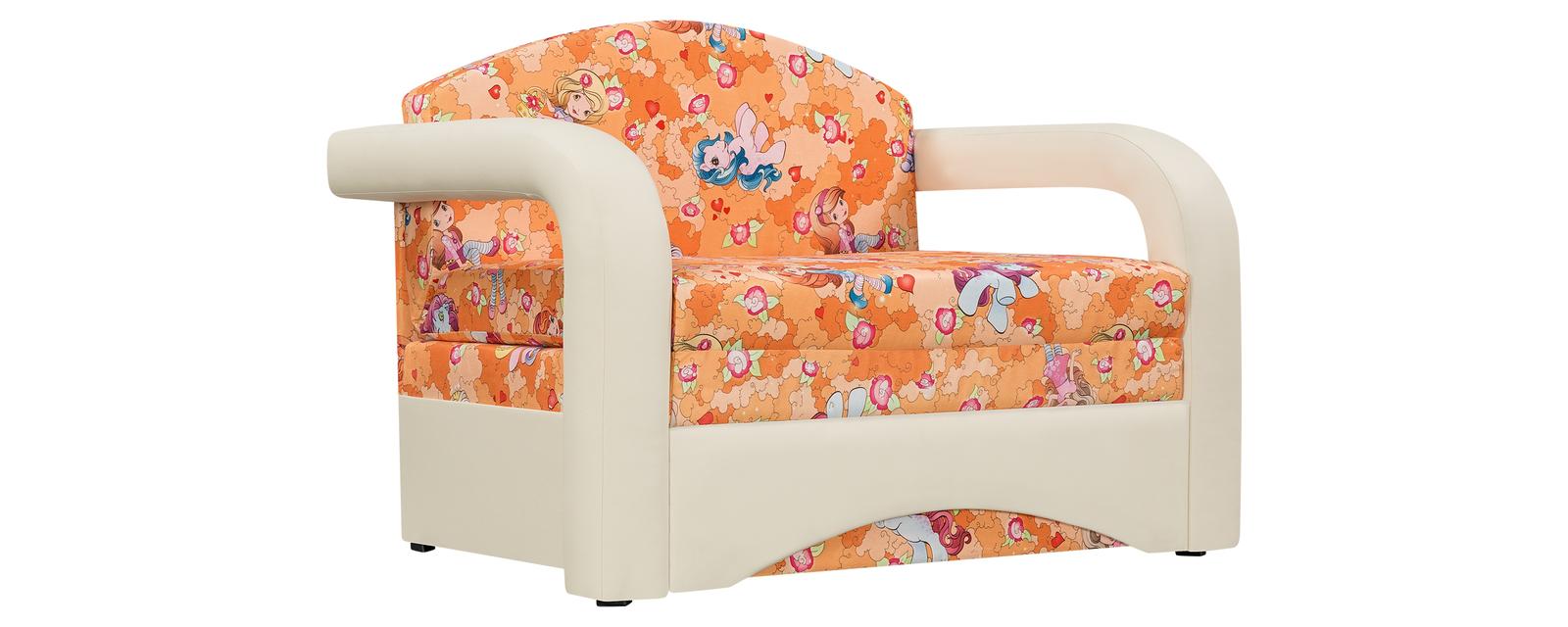 Кресло тканевое Эдем Pony оранжевый (Микровелюр + Экокожа) Эдем
