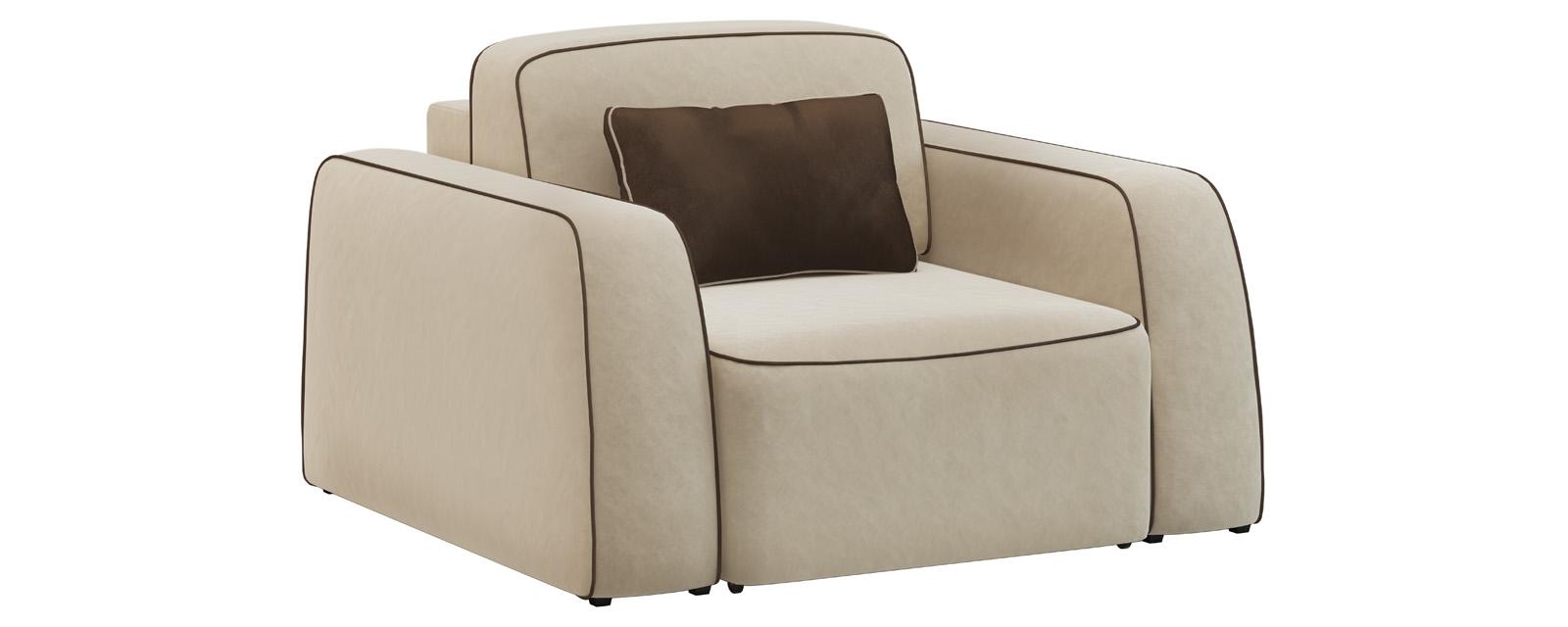 Кресло тканевое Портленд 80 см Velure бежевый/темно-коричневый (Велюр) Портленд