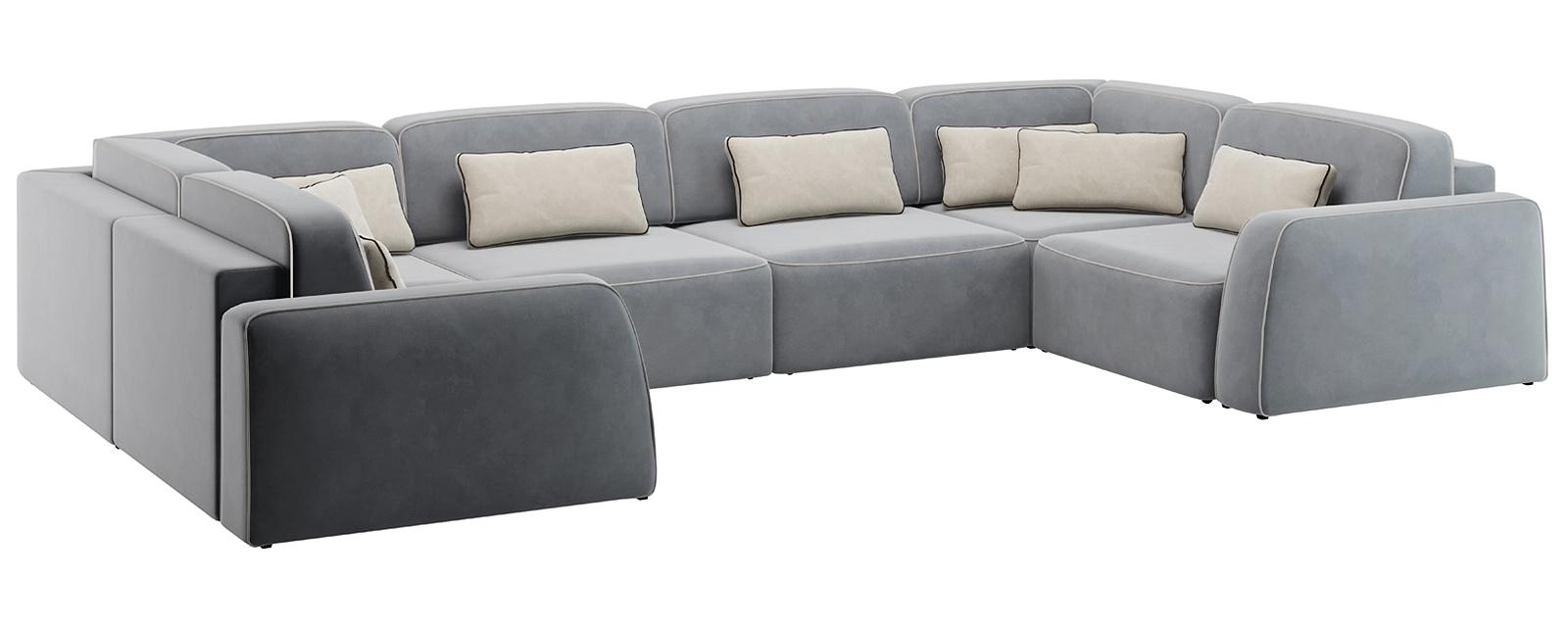 Модульный диван Портленд П-образный Вариант №1 Velutto серый (Велюр)
