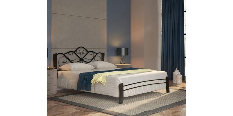 Металлическая кровать 140х200 Венера Лайт вариант №4 с ортопедическим основанием (черный/шоколад)