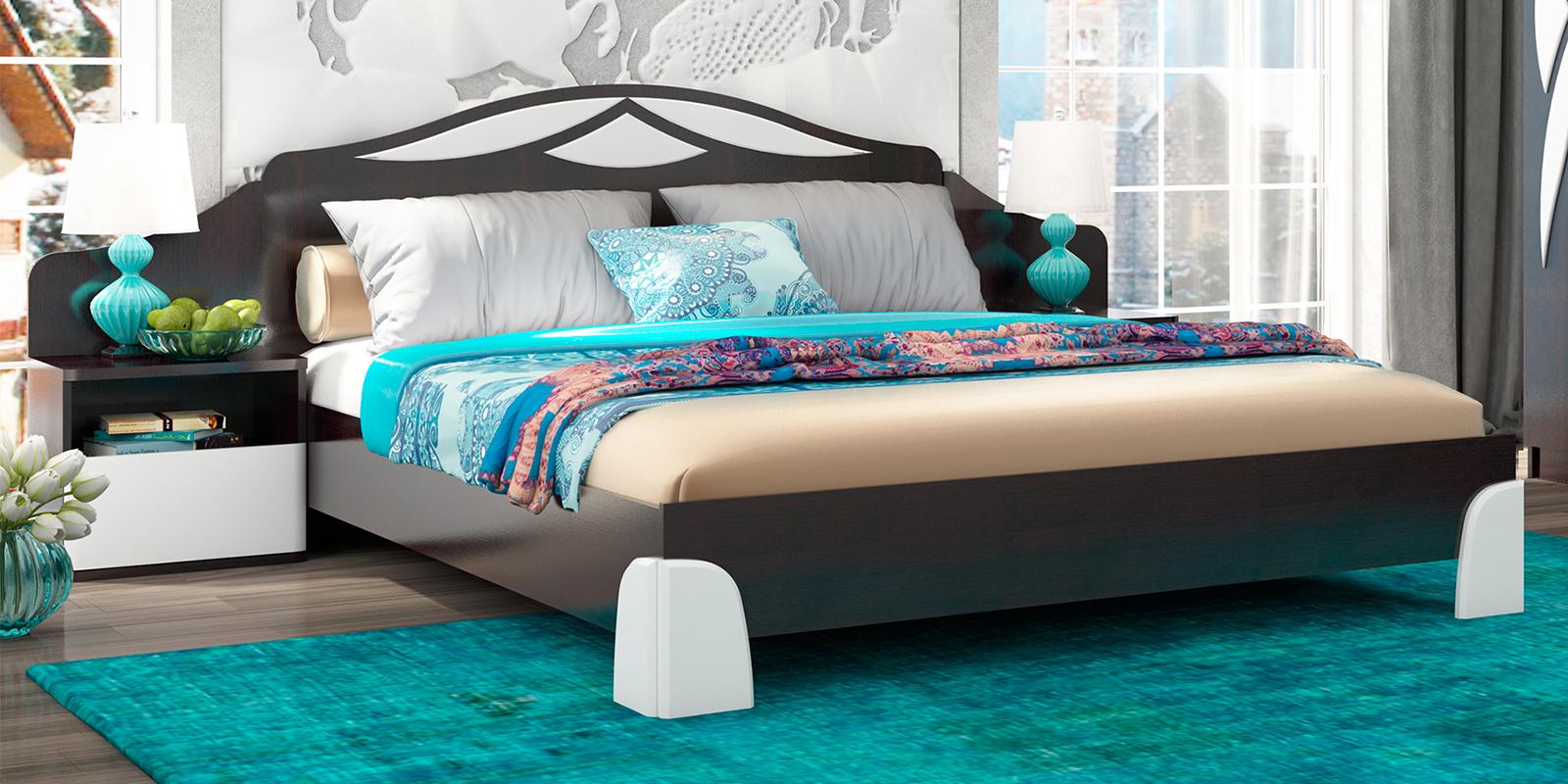 Кровать каркасная 200х160 Жаклин без подъемного механизма (дуб феррара/белый глянец)