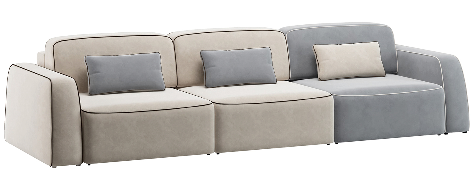 Модульный диван Портленд 300 см Вариант №1 Velutto серый/бежевый (Велюр)