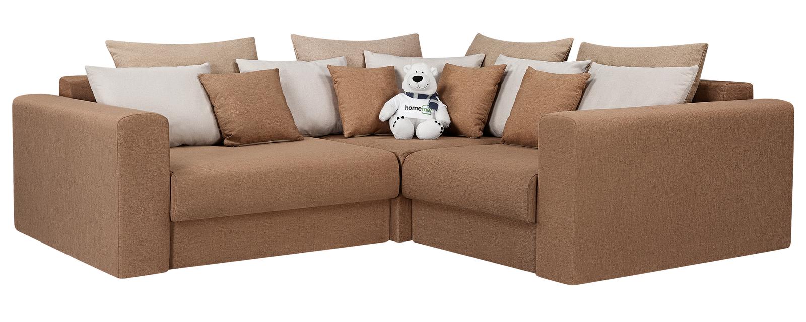 Модульный диван Медисон Вариант №3 Kiton коричневый (Рогожка)