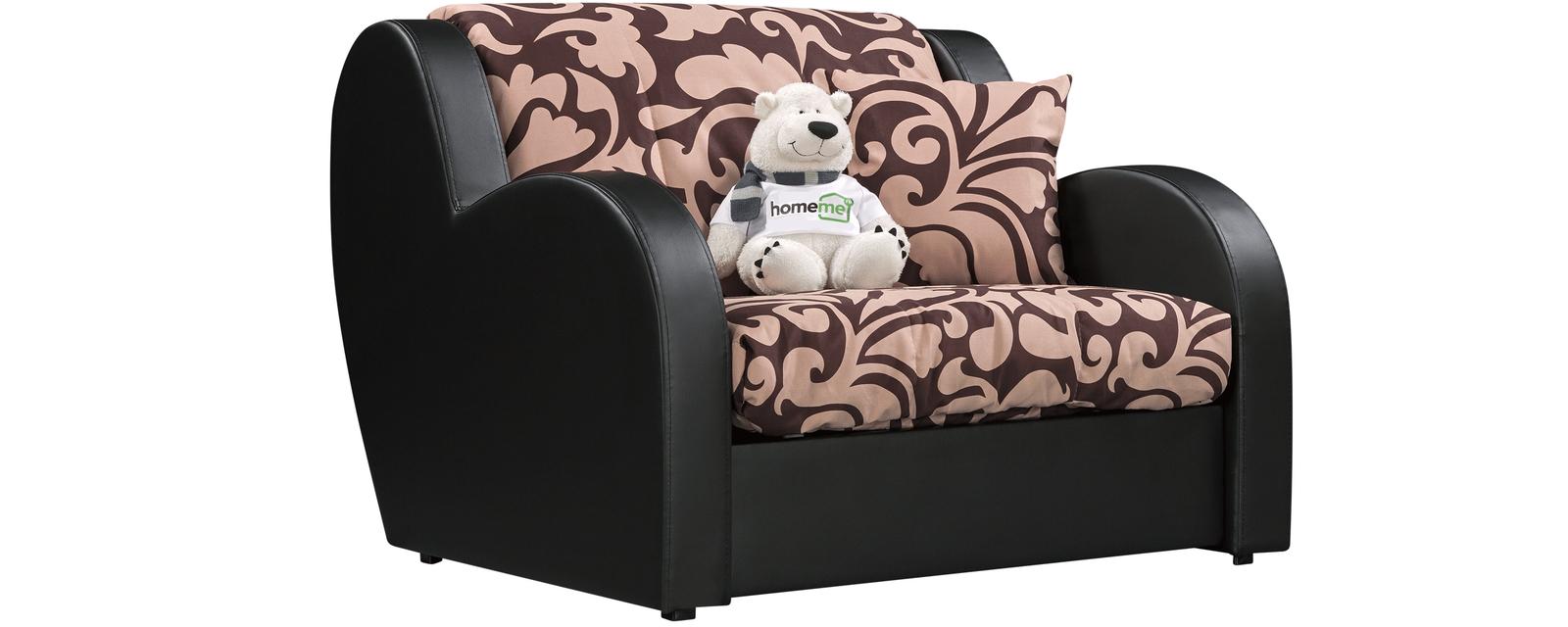 Кресло тканевое Барон Fandy коричневый вариант №1 (Ткань + Экокожа) Барон