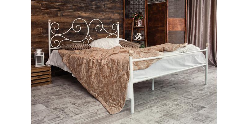 Металлическая кровать 180х200 Верона с ортопедическим основанием (белый с золотом) S016/1-8
