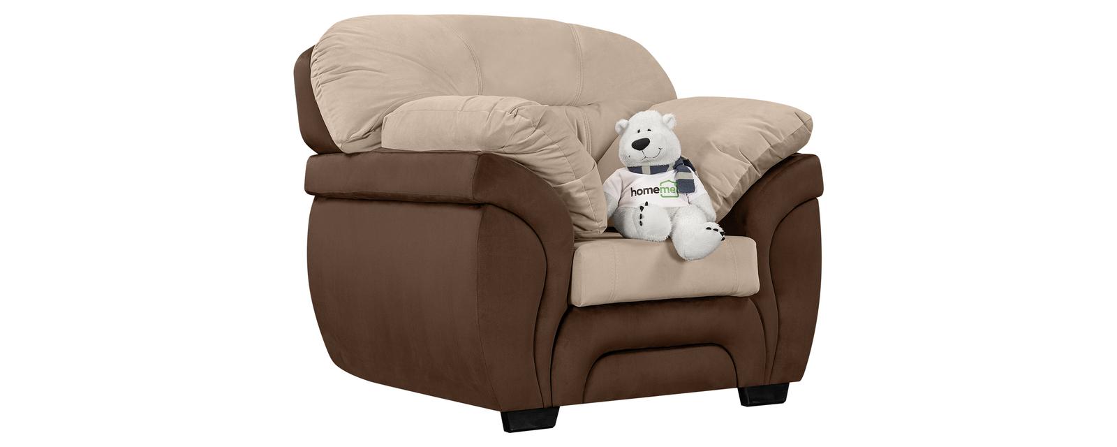 Кресло тканевое Бристоль Velure бежевый/коричневый (Велюр) Бристоль
