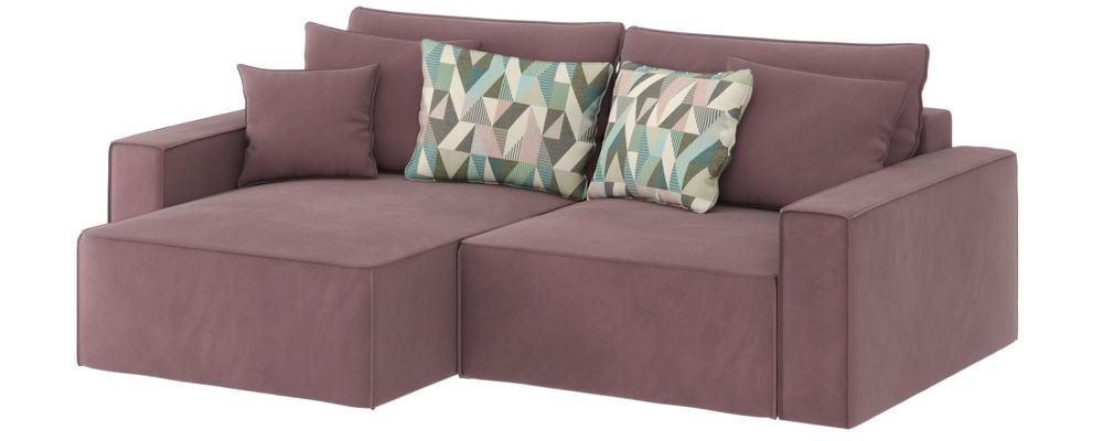 Диван тканевый угловой Корсо-3 вариант №3 Evita Nougat розово-серый (Велюр, левый)