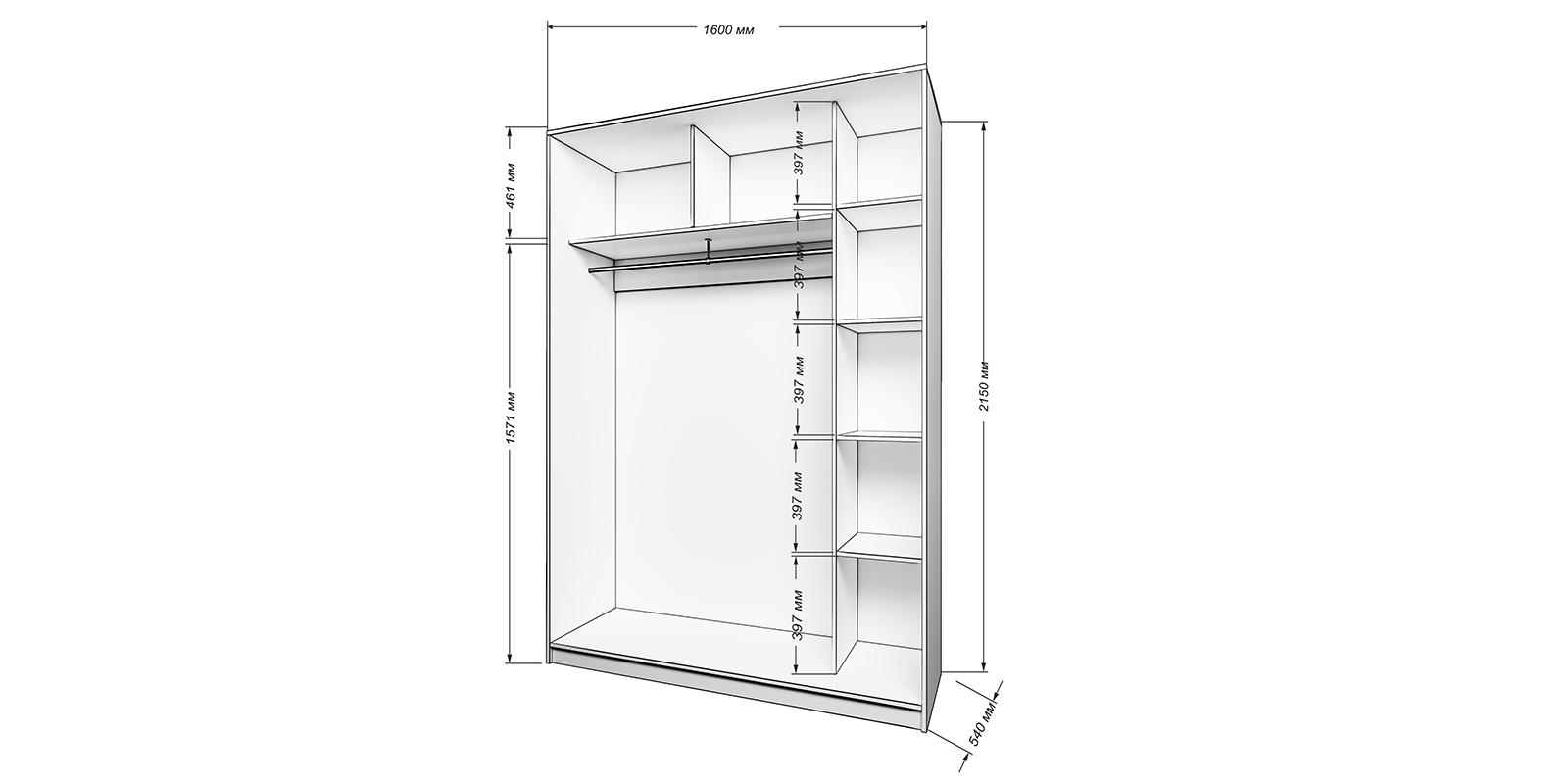 Шкаф-купе двухдверный Бостон 160 см (белый)