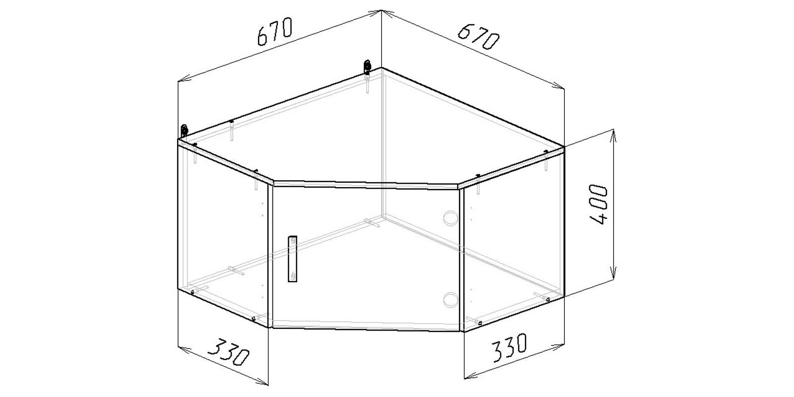 Шкаф навесной Хельга угловая антресоль (венге)