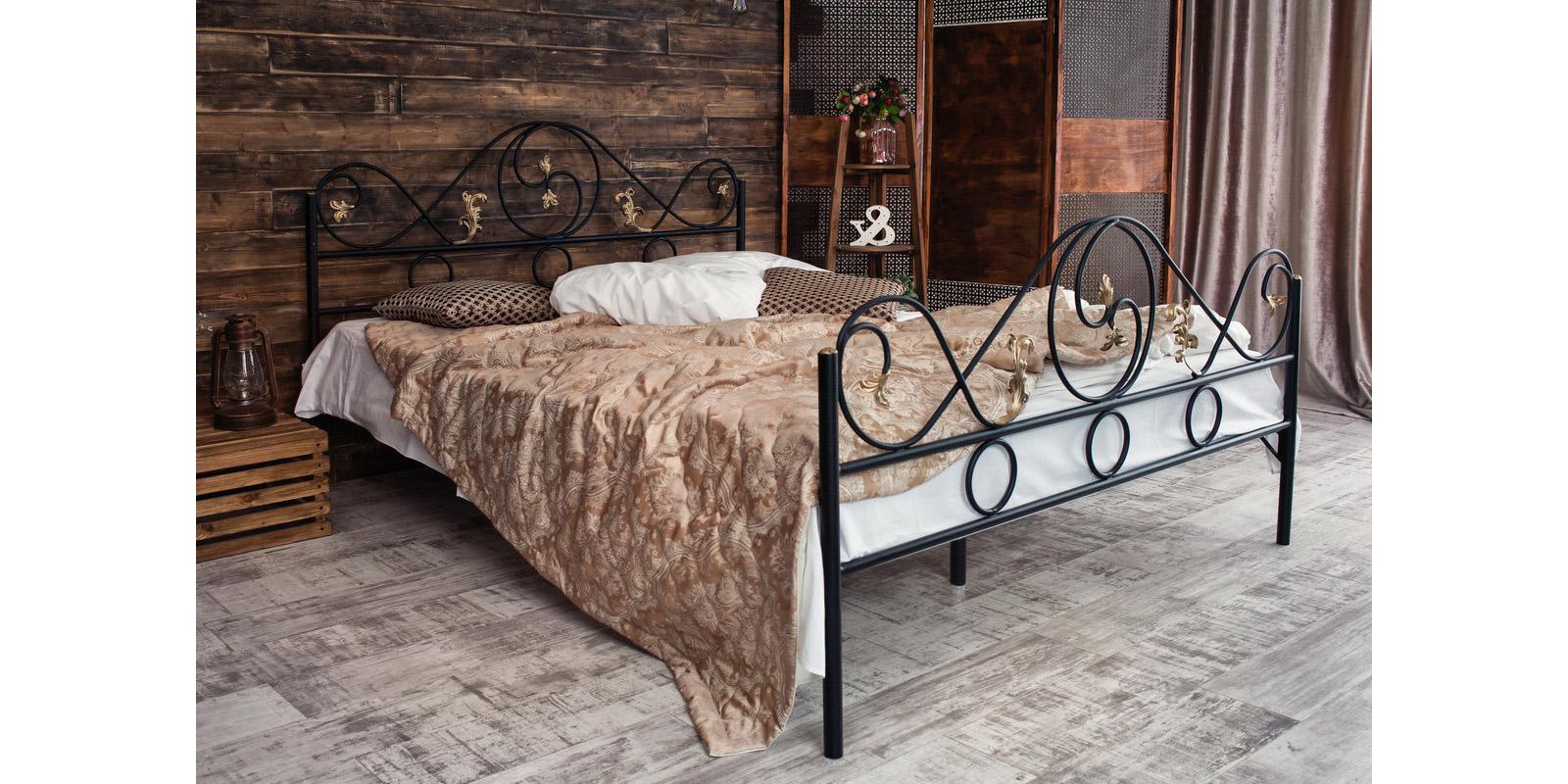 Металлическая кровать 140х200 Венеция с ортопедическим основанием (черный с золотом) S005/2-4