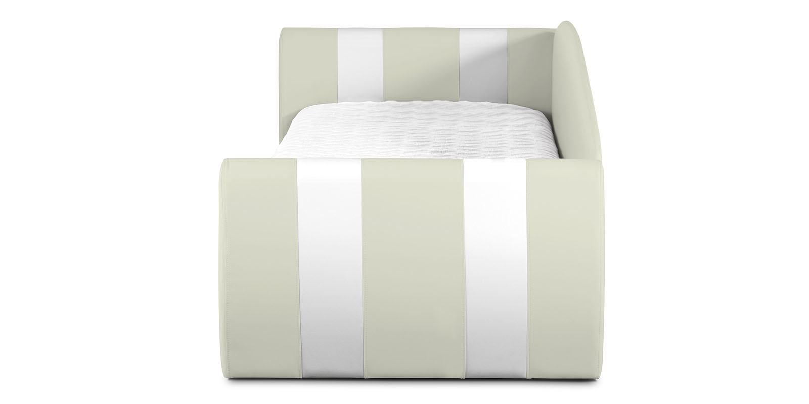 Мягкая кровать 190х90 Монако угол левый (молочный/белый) от HomeMe.ru