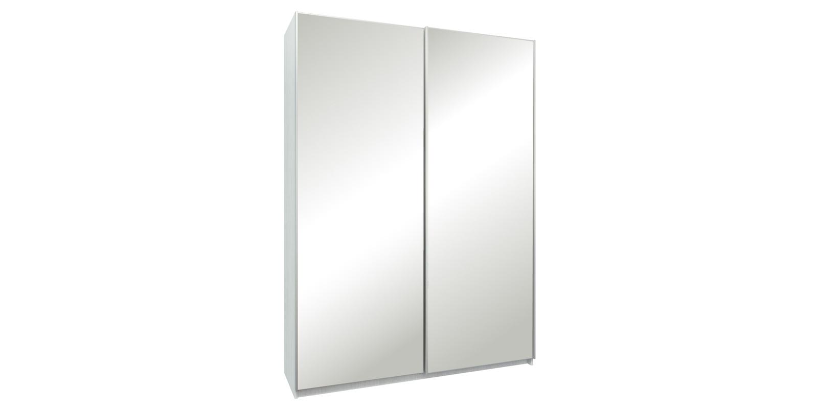 Шкаф-купе двухдверный Лофт 165 см (белый/зеркальный)