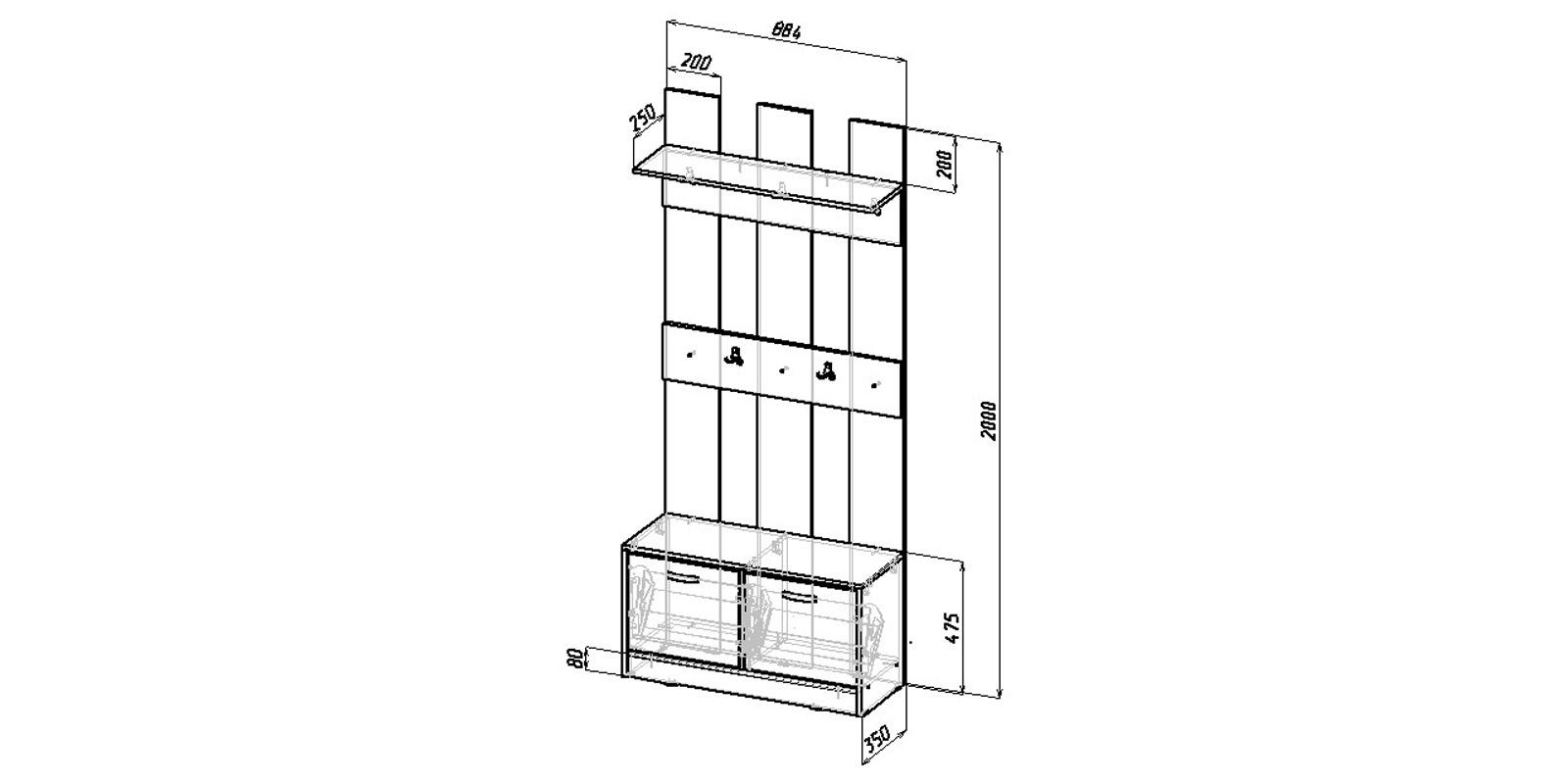 Модульная система Хельга вариант №1 (венге/дуб молочный) от HomeMe.ru