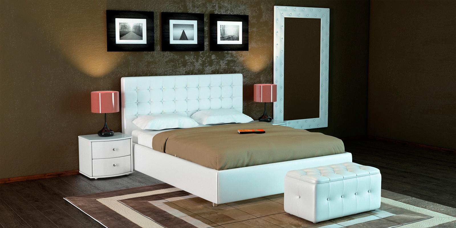 Мягкая кровать 200х160 Малибу вариант №3 с ортопедическим основанием (Белый)