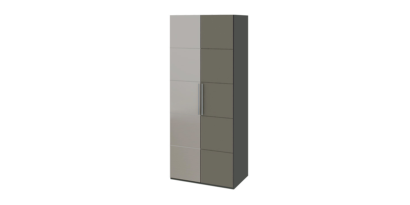 Шкаф распашной двухдверный Сорренто вариант №2 левый (темно-серый/серый)