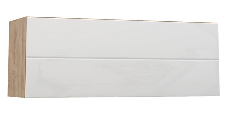 Шкаф навесной Верона Люкс 90 см вариант №1 (дуб сонома/белый глянец)