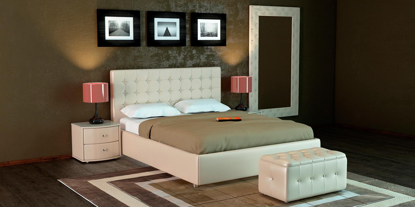 Мягкая кровать 200х160 Малибу вариант №3 с ортопедическим основанием (Бежевый)