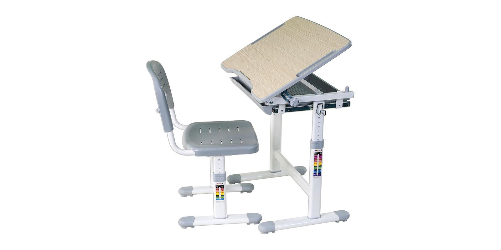 Детская парта PICCOLINO комплект парта + стул (белый/серый)