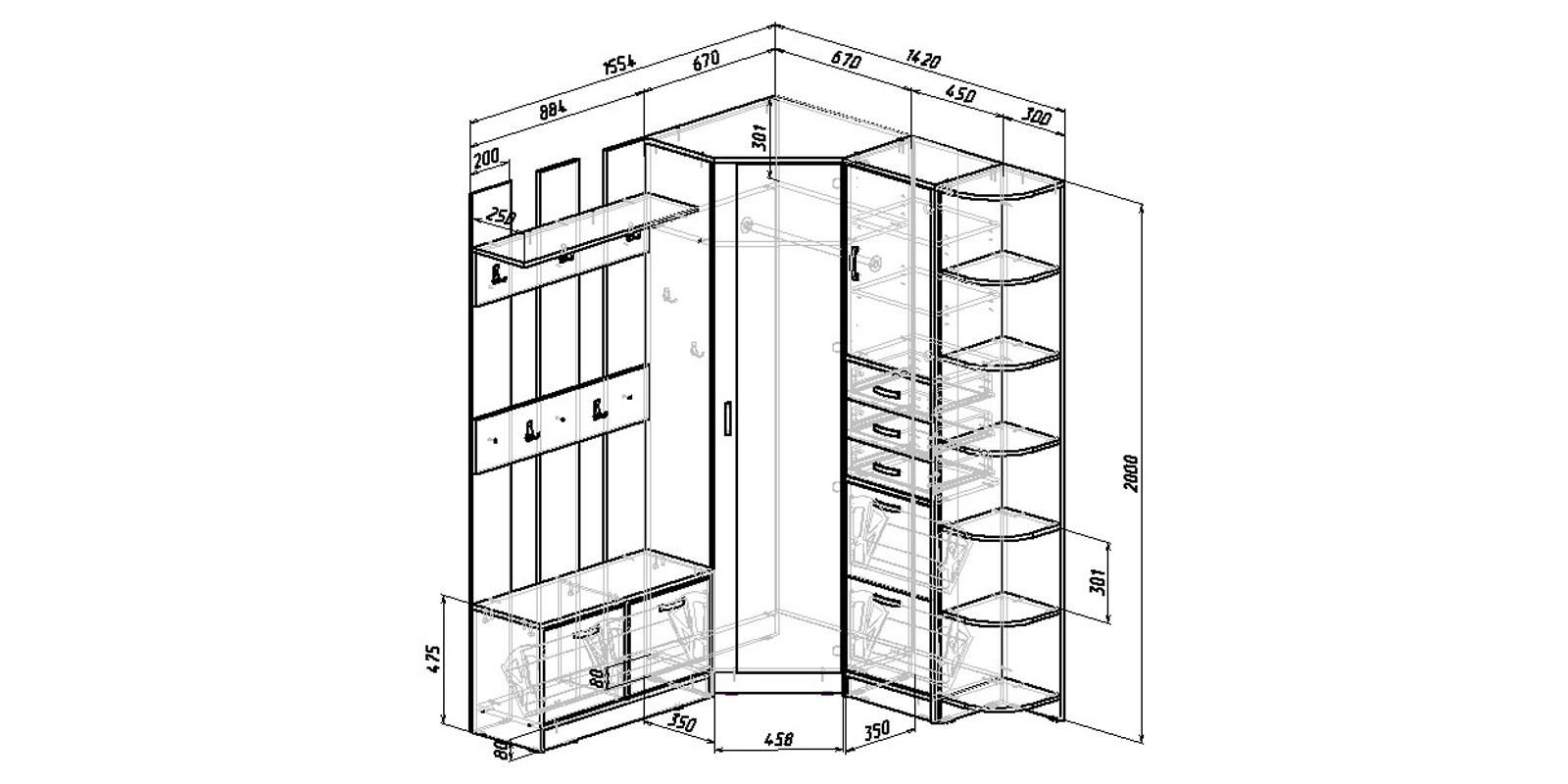 Модульная система Хельга вариант №9 (венге/дуб молочный)