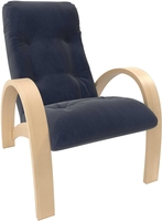 Кресло для отдыха Модель S7 Натуральное дерево/шпон, ткань Verona Denim Blue
