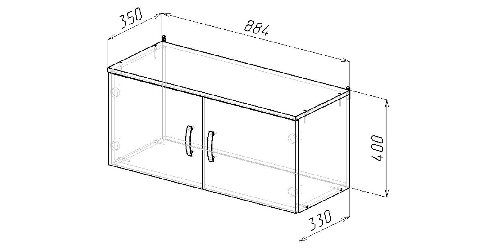 Шкаф навесной Хельга антресоль 90 см (дуб сонома) от HomeMe.ru