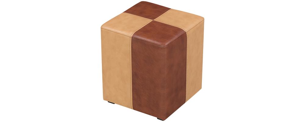 Пуф тканевый каркасный Кубик вариант №1 коричневый (Экокожа)