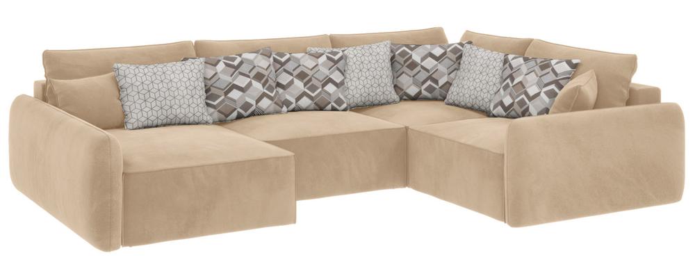 Модульный диван Портленд вариант №8 Soft песочный (Вел-флок, правый)