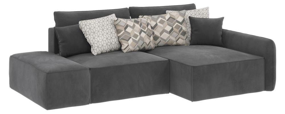 Модульный диван Портленд вариант №3 Premier серый (Микровелюр, правый)