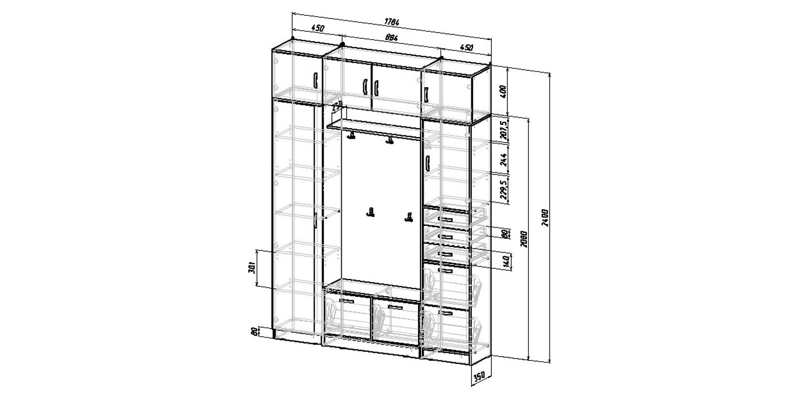Модульная система Хельга вариант №6 (венге)