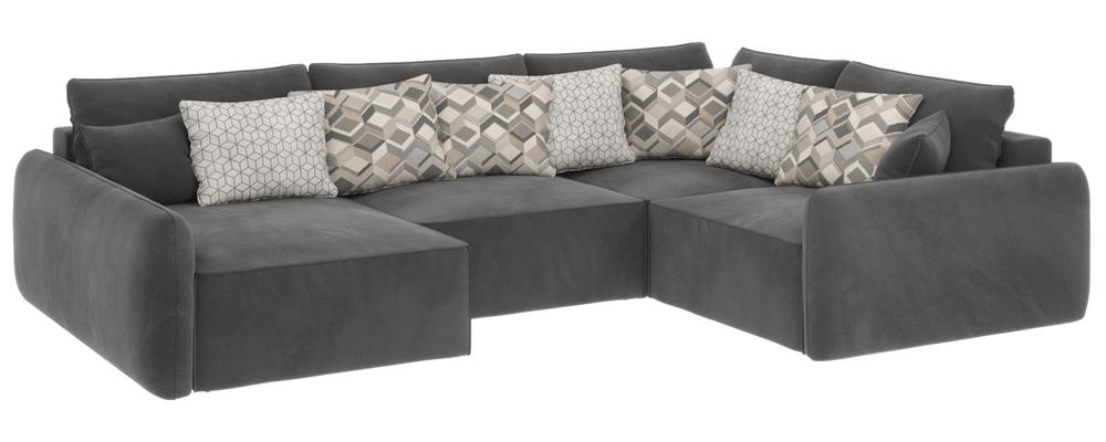 Модульный диван Портленд вариант №8 Premier серый (Микровелюр, правый)