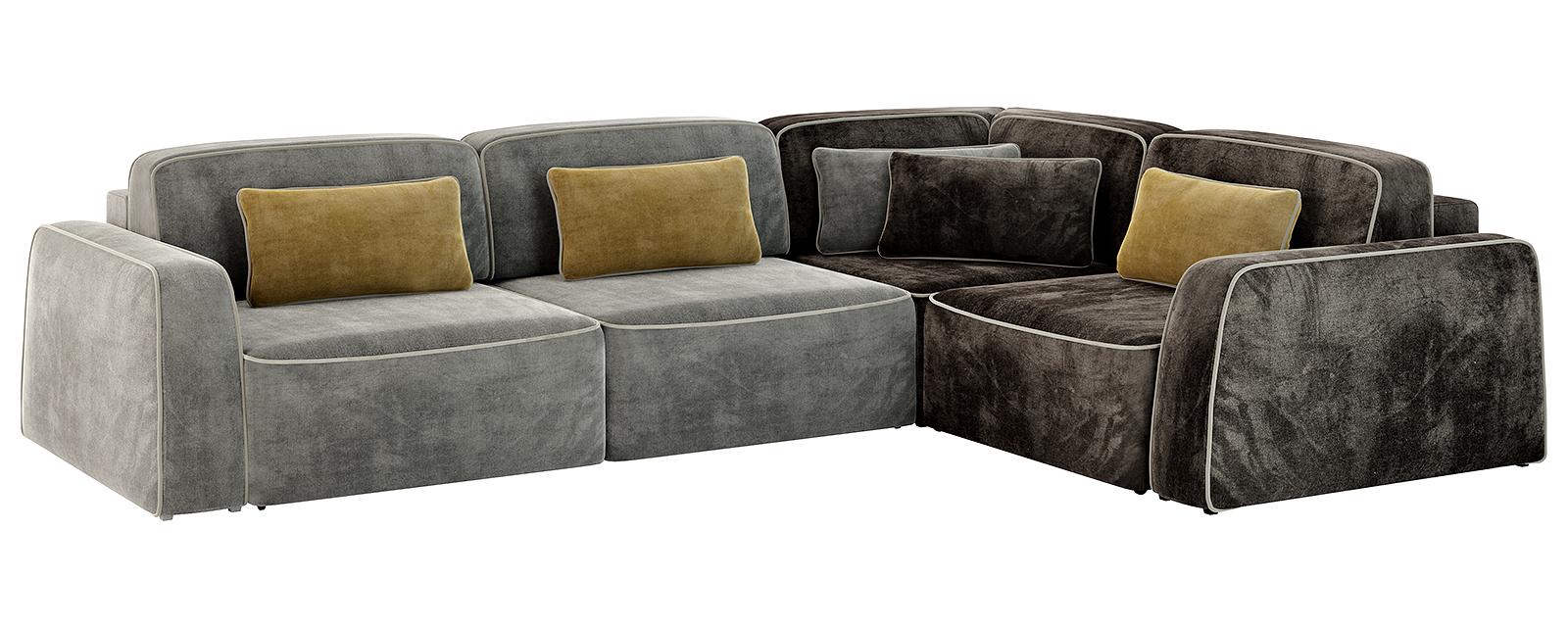 Модульный диван Портленд 350 см Velure серый/тёмно-коричневый (Велюр)