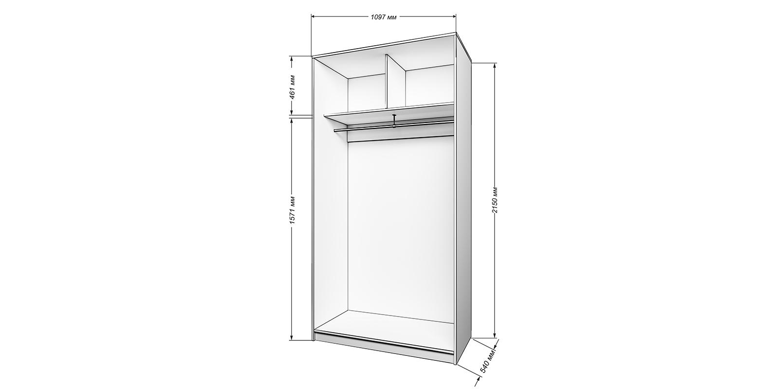 Шкаф-купе двухдверный Бостон 110 см вариант №1 (белый+зеркало)